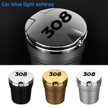 For Peugeot 307 206 308 407 207 3008 208 508 2008 301 408 107 With Led Lights car Logo Creative Personality ashtray Creative(China)