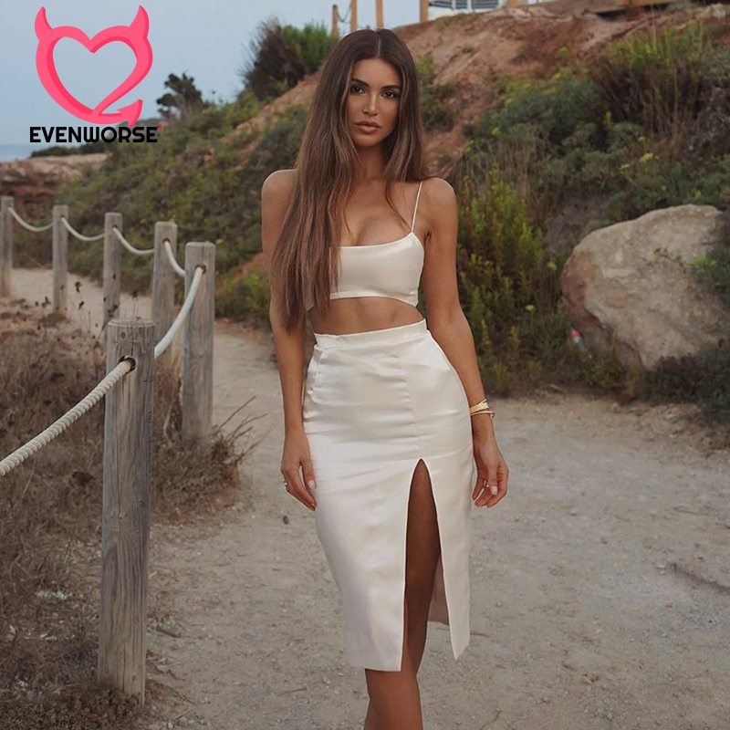 Evenworse Tank And Skirt Two Pieces Set Women Suits Camisole Backless Belly Vest Top Celebrity Party Bandage Solid  Skirt Suit