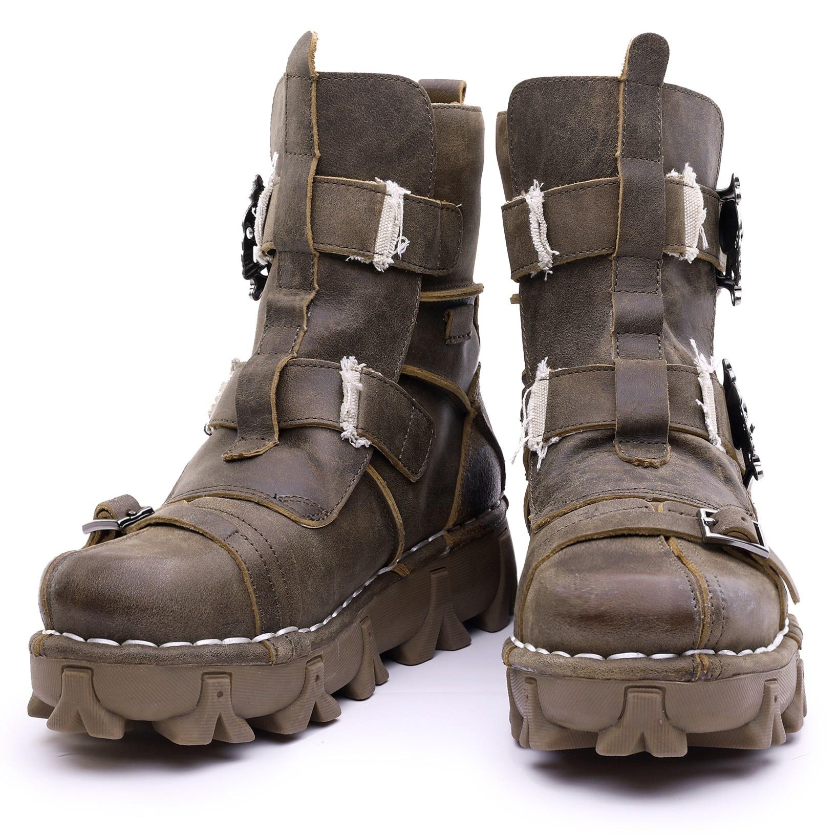 Botas de combate militares de motocicleta de cuero genuino estilo Vintage y único para hombre con calavera-in Botas de motocicleta from zapatos    2