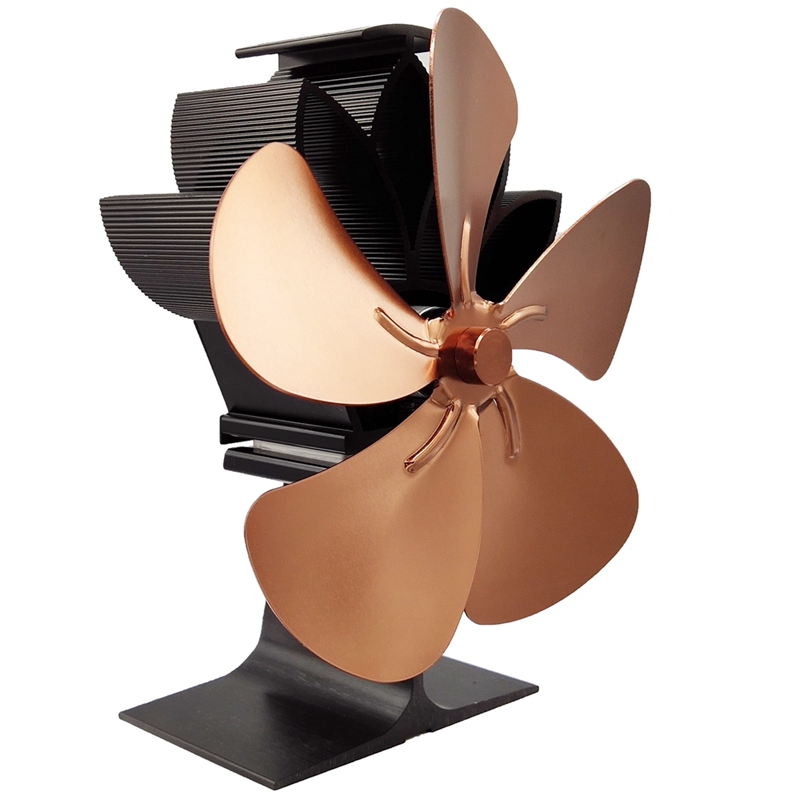 Wood Stove Fan 5-Blade - Heat Powered Log Burner Increases 80% More Warm Air Than 2 Blade Eco-Friendly With Stove Thermometer Br