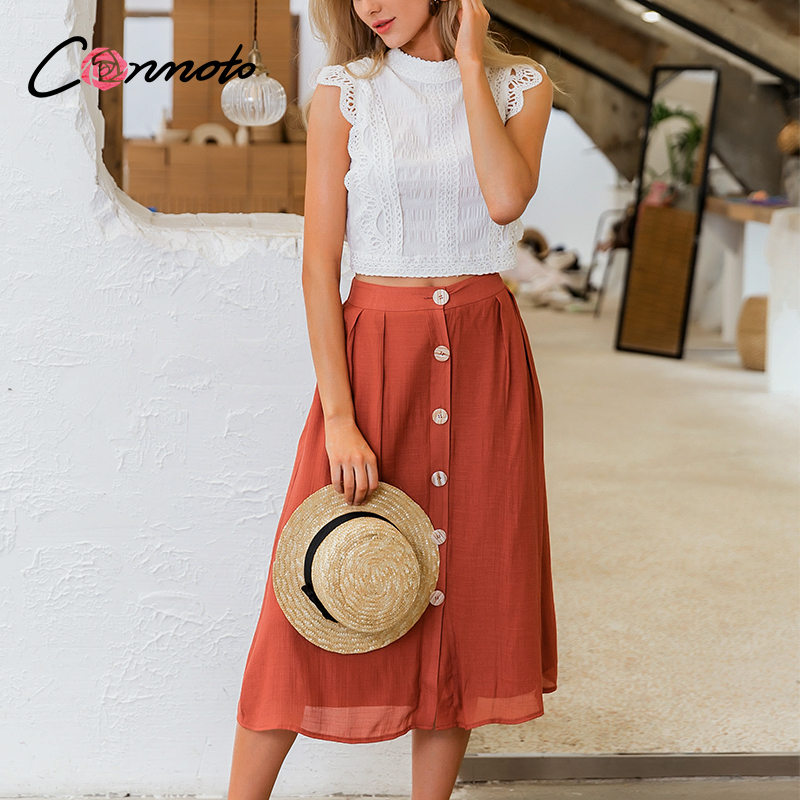 Conmoto Summer Casual Button Midi Skirts Women Brick High Waist Beach Skirts Cool Female Vintage Boho Red Solid Skrit