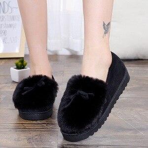 Image 3 - 2020 warme Hausschuhe Frauen Winter Schuhe Bowtie Plüsch Innen Loaferes Damen Indoor Hause Hausschuhe Pantuflas Damen Slip Auf Schuhe