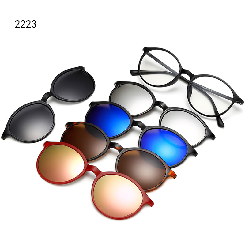 5 In 1 Magnetic Clip On Glasses Polarized Sunglasses Men Women Sport Sunglasses for Myopia Lenses Bike MTB Cycling Sunglasses|Cycling Eyewear|Sports & Entertainment - title=