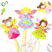 Children DIY Fairy Stick Handmade Princess Magic Stick Toy Handmade Materials Package Sticker Girl Gift DIY Craft Toys GYH(China)