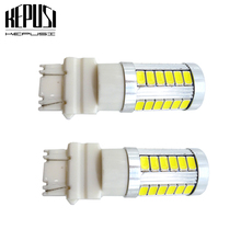 купить 2PCS 3157 LED T25 P27/7W Auto Lamps 33 SMD 5630 Reverse Lights Super bright 6000K White LED Car bulbs Brake Stop Tail Light дешево