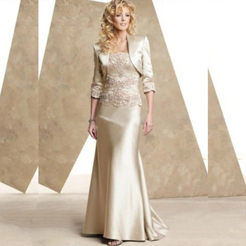 2020 Elegant Champagne Mermaid Lace Mother of the Bride Dresses With Removable Jacket Groom Gowns Strapless