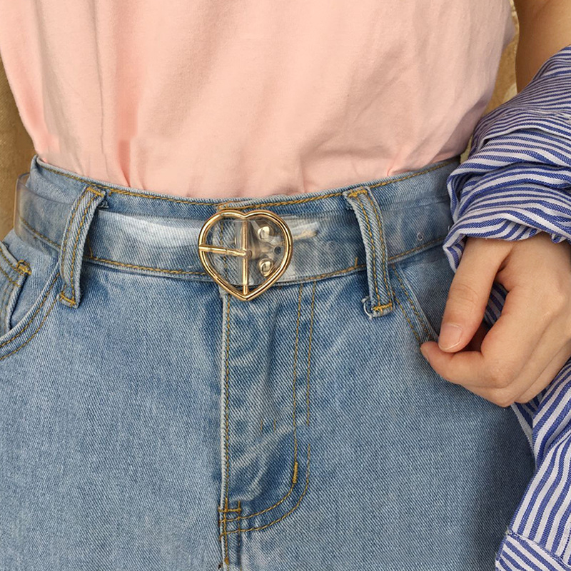 Women's Cute Transparent Belt Female Heart Buckle Waist Sweet Belt Fashion Waistband Ladies Jeans Dress Belt