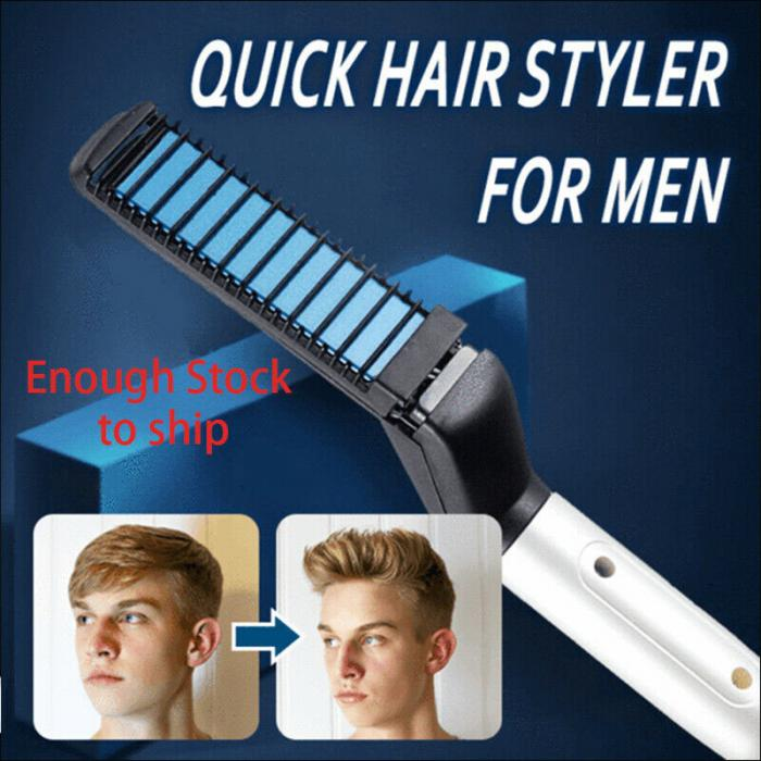 Men Quick Beard Straightener Styler Comb Multifunctional Hair Curling Curler Show Cap Tool in Electric Hair Brushes from Home Appliances