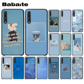 Blue Pink Aesthetics Songs lyrics Aesthetic Back Cover Phone Case For Huawei Enjoy 7 7S 8 9 10 7Plus 8Plus 9E 10Plus Cellphones image