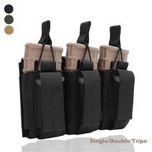 1000D çift katmanlı taktik Molle dergisi kılıfı tek/çift/üçlü tüfek tabanca Mags kartuş torbalar avcılık Mag tutucu