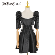 TWOTWINSTYLE Hollow Out Red Dress For Women Square Collar Puff Sleeve High Waist Patchwork