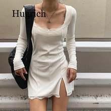 Женское кружевное мини платье с длинным рукавом и разрезом