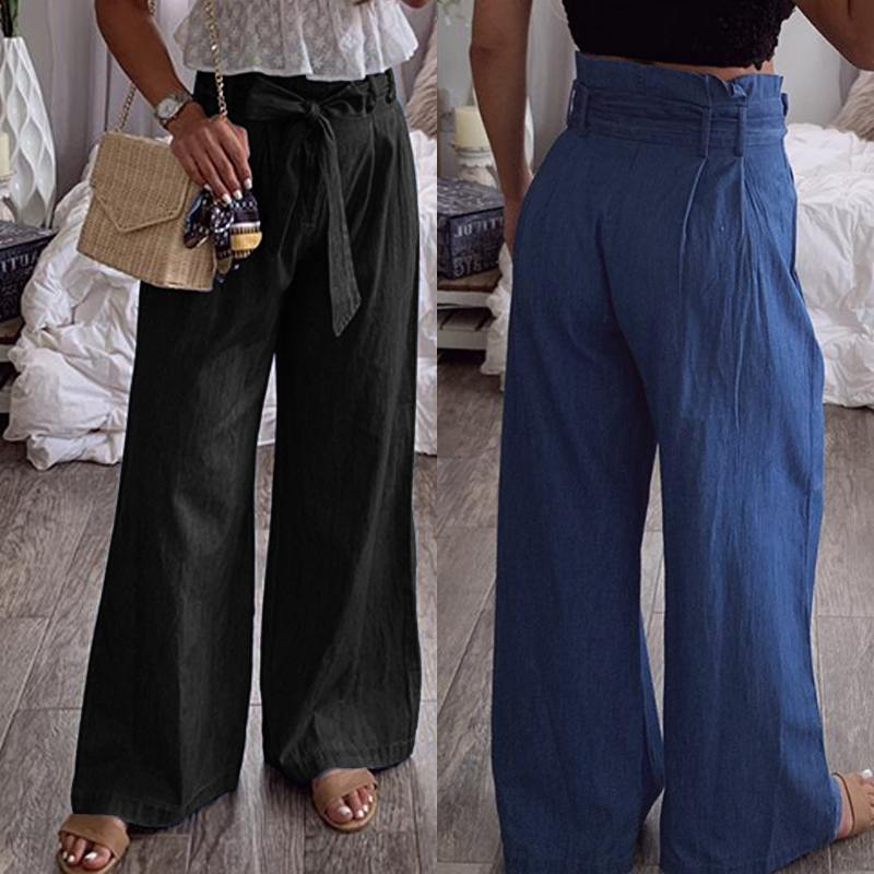 ZANZEA Plus Size Women Cotton Linen Wide Leg Pants Elegant Office Work Lady Chic Long Trousers High Waist Belted Pantalon Femme