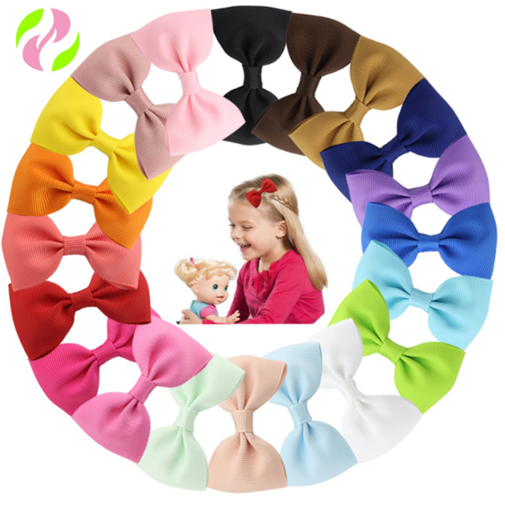 20pcs Lovely Bow Tie Hairclip Simple Style Princess Color Hair Clip Cute Hairpin Birthday Party Baby Hair Decorations