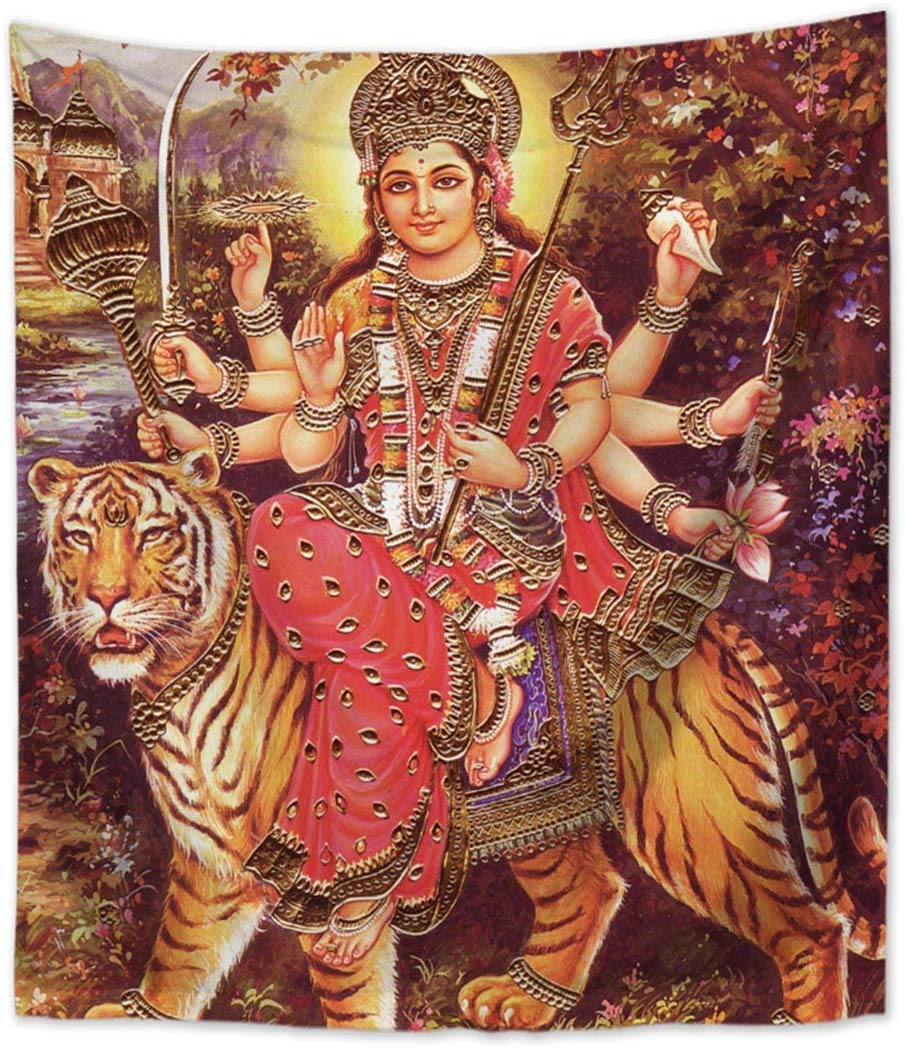 Goddess Durga Tiger Wall Hanging Tapestry Window Country Home Decor