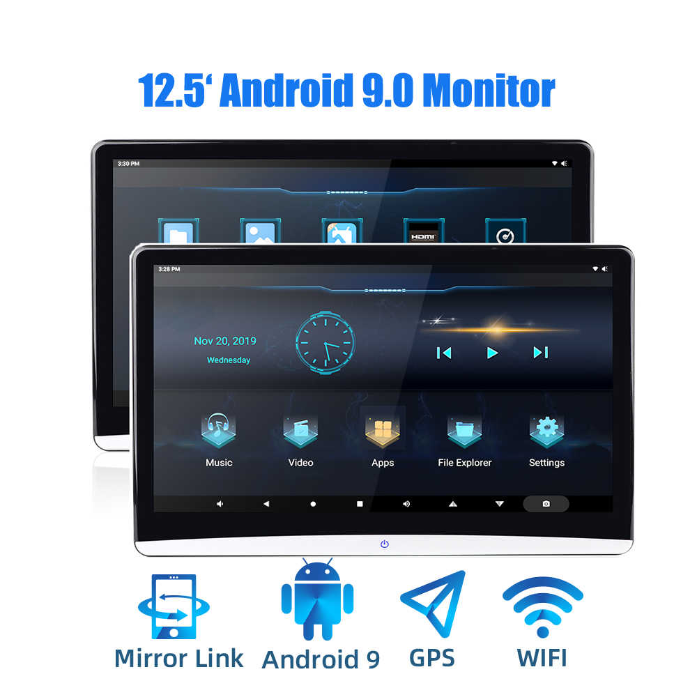 12.5 Inch Android 9.0 Mobil Headrest Monitor 1920*1080 4K 1080P Layar Sentuh WiFi/Bluetooth/ USB/SD/HDMI/FM/Cermin