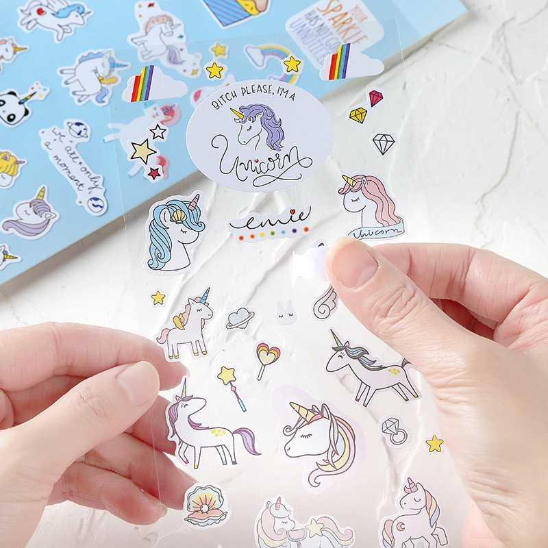 Unicorn Stiker Kartun Hewan DIY Stiker Laptop Notebook Tahan Air Stiker untuk Anak-anak Mainan untuk Anak VSCO Gadis Stiker