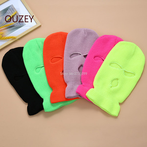 Full Face Cover Mask Three 3 Hole Balaclava Knit Hat Army Tactical CS Winter Ski Cycling Mask Beanie Hat Scarf Warm Face Masks(China)