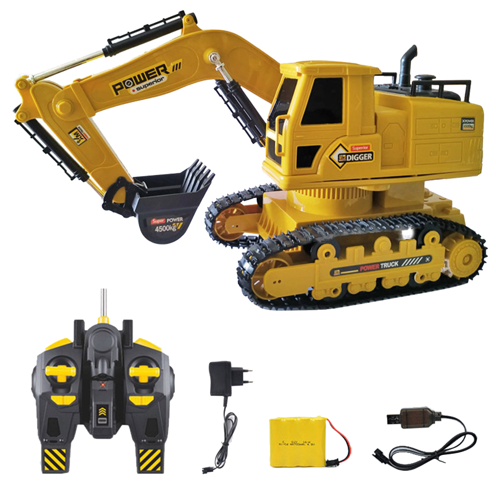 RC Excavator Simulation Truck Yellow Kids Toy Construction Portable Gifts 10 Channel Mini Tractor ABS Rechargeable Model
