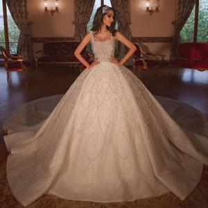 Image 1 - Luxury Beadings Appliques Bride Dresses Ball Gown Square Neck Spaghetti Straps With Train Bridal Style Long Gowns