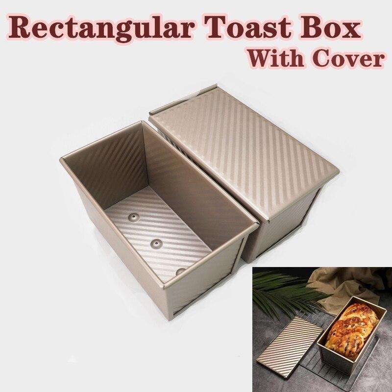 Caixa de torradas molde de pão retangular pão pan aço carbono fole antiaderente com capa eco-friendly ferramentas de cozimento para bolos
