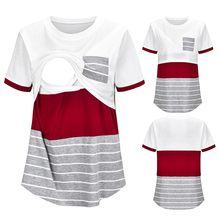 Striped Patchwork Casual Pregnant Shirt Clothes Nursing Top Women Maternity Casual Shirt Short Sleeve Breastfeeding Clothes@45(China)