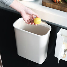 Hanging Kitchen Cabinet Trash Can Plastic Trash Can Kitchen Trash Can Cover Debris Storage Bucket Rectangle(China)