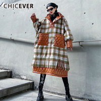 CHICEVER Patchwork Plaid Hit Color Tassel Women's Sweatshirt Hooded Lantern Sleeve Oversize Loose Pullovers Female 2020 Clothes
