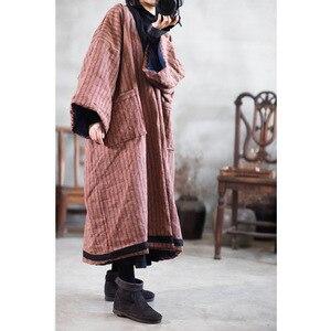 Image 2 - Parka rayé en lin pour femme, manteau Long, épais et chaud, avec poches de grande taille, hiver, style ample, YoYiKamomo