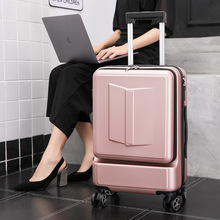 Boarding Suitcase 24inch-Front Trolley Trunk Travel-Bag Rolling-Luggage Women Pocket
