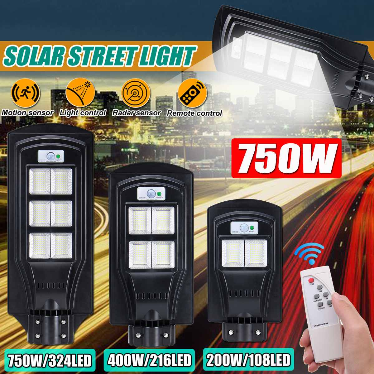 New Led Solar Street Light Waterproof Outdoor Lighting 200W/400W/750W Rador-Motion Wall Light With RC For Garden Yard Plaza
