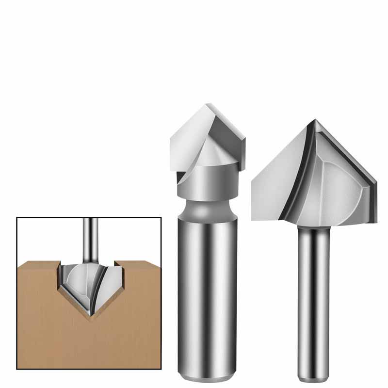 1Pcs 6.35 / 12.7mm Shank 90 Degree V Type Milling Cutter End Mill Cleaning Flush Trim Tenon Cutter For Woodworking Router Bits