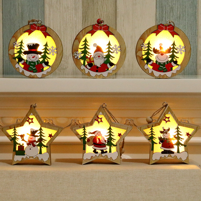 Christmas Ornaments Wooden Glowing Pendant Tree Decoration Gifts