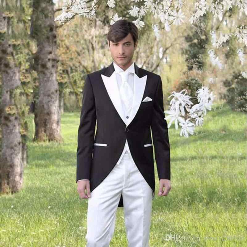 Último diseño trajes para hombre, traje de boda para Blazer, esmoquin de graduación, traje de novio, traje de novio, tres piezas, solapa con pico