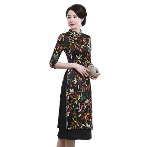 Image 5 - Autumn 2019 new mulberry silk cheongsam dress retro high end improved mid long 7 sleeve oder fashion