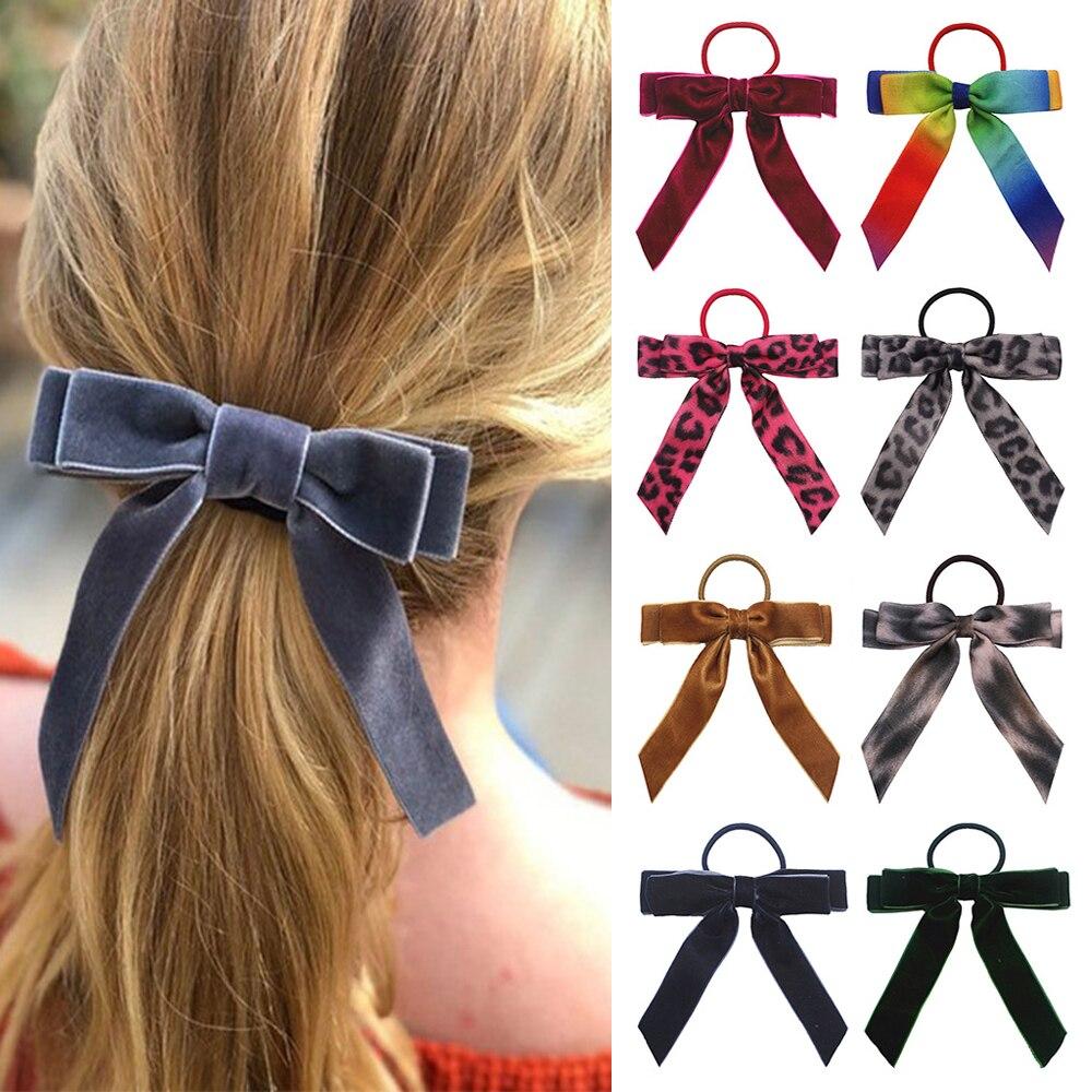 Korean Girls Hair Accessories Hair Rope Velvet Scrunchie Leopard Elastic Hair Bands For Women Bow Ties Ponytail Holder Headband