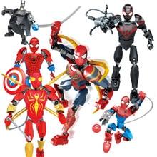 Single Super Hero Figure Miles Morales Spider-ham Prowler Spiderman Shadow Gwen Ultimate Iron Spider-man Building Blocks Toys