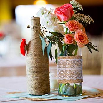 Burlap Ribbon Rolls with Lace Jute Twine for DIY Handmade Wedding Party Crafts image