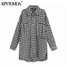 Vintage Stylish Oversized Houndstooth Jacket Coat Women 2020 Fashion Pockets Frayed Side Vents Loose Plaid Outerwear Chic Tops