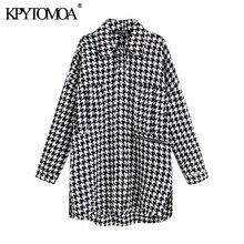 Vintage stylowa ponadgabarytowa kurtka Houndstooth płaszcz kobiety 2020 modne etui postrzępione boczne otwory wentylacyjne luźna w kratę odzież wierzchnia eleganckie koszule