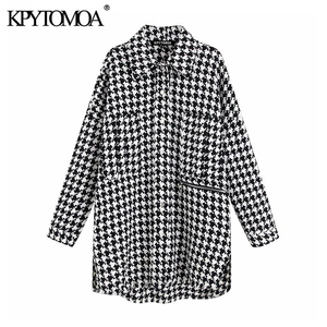 Image 1 - Vintage stylowa ponadgabarytowa kurtka Houndstooth płaszcz kobiety 2020 modne etui postrzępione boczne otwory wentylacyjne luźna w kratę odzież wierzchnia eleganckie koszule