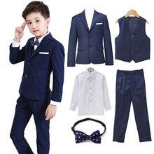 5 шт./компл. Костюм с пиджаком, комплект(пиджак+ брюки+ жилет+ рубашка+ галстук-бабочка), спортивный костюм для мальчиков, Свадебная вечеринка костюм с пиджаком костюм Garcon/костюмы для мальчиков официальная школьная одежда