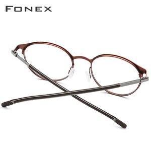 Image 4 - Fonex 合金光学処方眼鏡男子レトロラウンド近視眼鏡フレームの女性 2019 メタルフルリムネジなし眼鏡 984