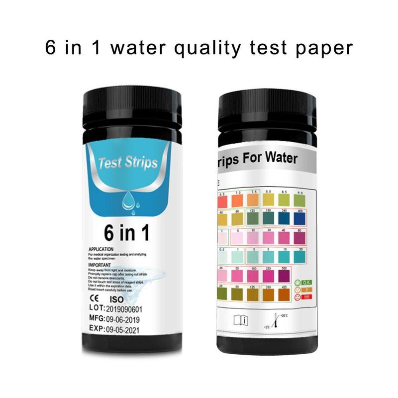 50pcs 6 In 1 Fish Tank Test Strip Testing Acidity And Alkalinity PH KH GH Nitrate Nitrite Aquarium Test Paper Alkaline Testing