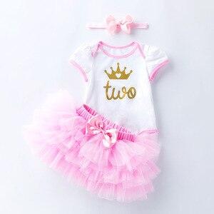 Одежда для малышей Комплект для малышей на два года, для дня рождения, для девочек, Летнее Детское платье-пачка для маленьких девочек просто...