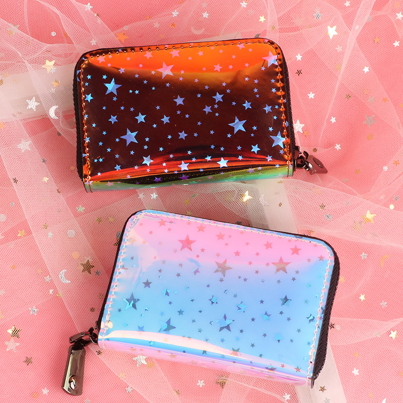 2019 New Women Wallets Fashion Laser Holographic Wallet Women Cute Small Wallet For Gril Portfel Coin Purse Card Holder Carteira