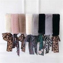 Fur Scarf 2019 New Design Winter Leopard Women Luxury Brand Skinny Silk Female Neckerchief Scarves For Ladies