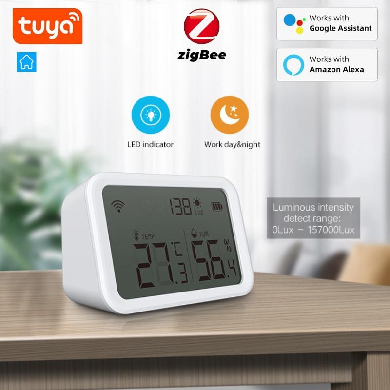Смарт-датчик температуры и влажности NEO Tuya Zigbee, детектор интенсивности света, домашняя Автоматизация, работает с Alexa Google Home