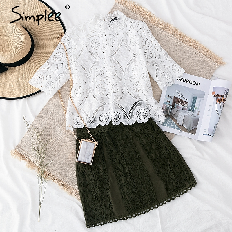 Simplee Elegant lace mesh embroidery women   blouse     shirt   Sexy hollow out ruffled female top   shirt   Short sleeve summer party tops