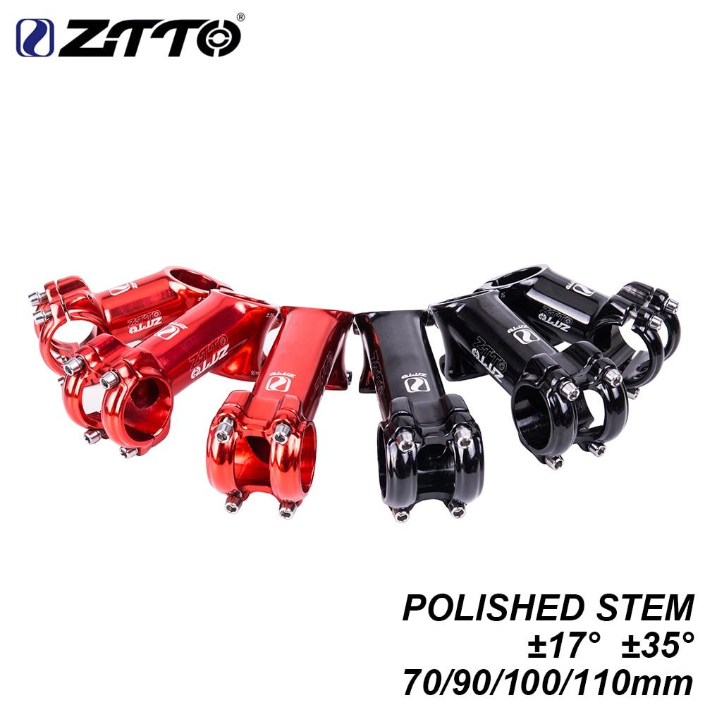 Ztto mtb polido bicicleta guiador haste 70 90 100 110mm 1717° 35 graus brilhante para 31.8mm xc am mountain road bicicleta haste